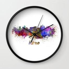 Reno skyline in watercolor Wall Clock