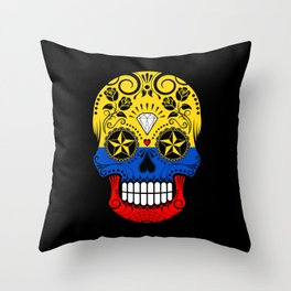 Sugar Skull with Roses and Flag of Colombia Throw Pillow