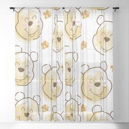Inspired Pooh Bear surrounded with bees Pattern on White background Sheer Curtain