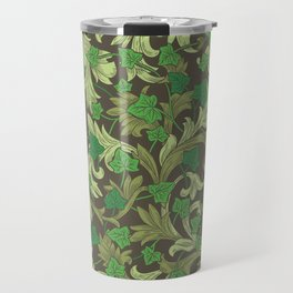 Green ivy with ornament on dark brown background Travel Mug