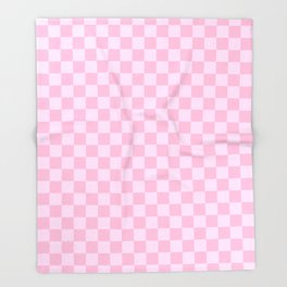Pink Lace Pink and Cotton Candy Pink Checkerboard Throw Blanket