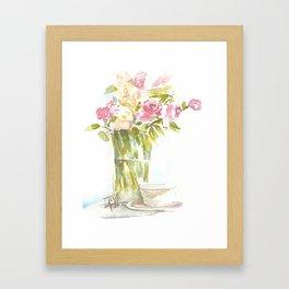 Tea and Roses Framed Art Print