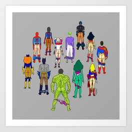 Superhero Butts - Power Couple on Grey Art Print