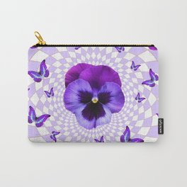 PURPLE BUTTERFLIES & PANSIES GEOMETRIC WHITE PATTERN Carry-All Pouch