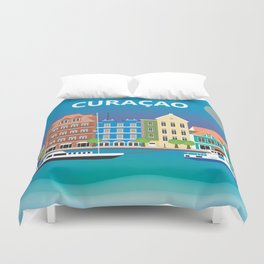 Curacao - Skyline Illustration by Loose Petals Duvet Cover