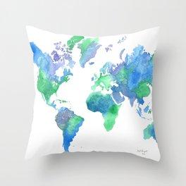 Watercolor Worldmap Throw Pillow