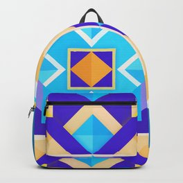 Geometric Tribal Mandala Inspired Modern Trendy Vibrant (Blue, Cobalt, Yellow, Orange, Purple) Backpack