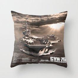 Aircraft carrier Ronald Reagan Throw Pillow