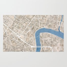 New Orleans Cobblestone Watercolor Map Rug