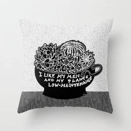 Lo-Maintenance Men & Cacti Black and White Trendy Illustration Throw Pillow