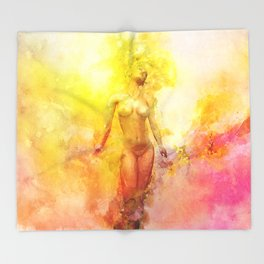 The Girl with the Sun in Her Hair - Summer Bloom Throw Blanket