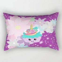Unicorn Cupcake Sparkles Background Rectangular Pillow