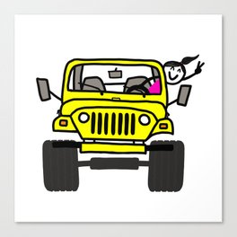 Jeep Wave Girl - Yellow Canvas Print