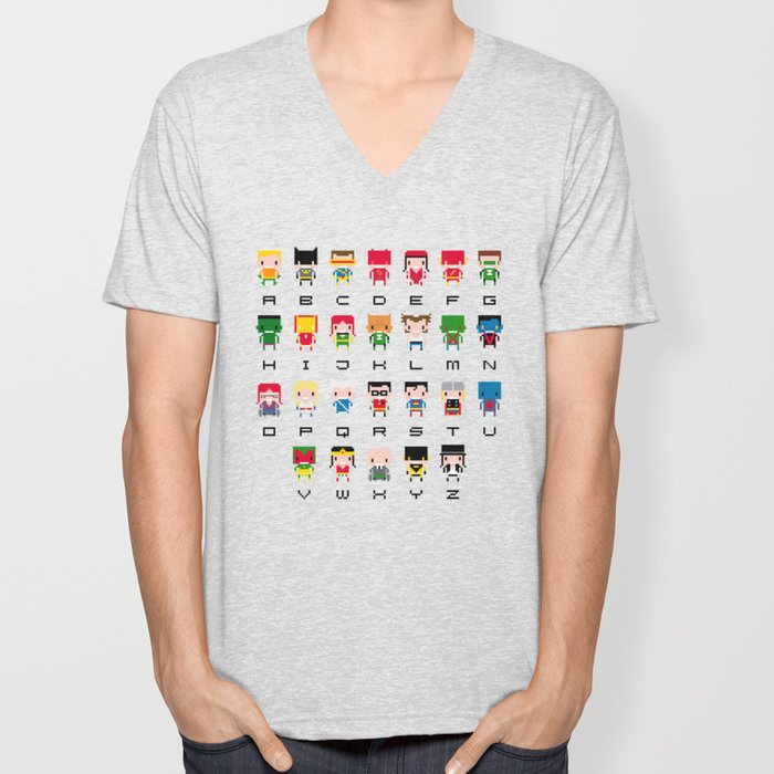 Superhero Alphabet Unisex V-Neck