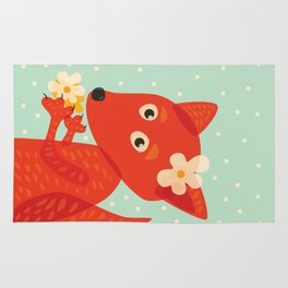 Cute Fox And Flowers Rug