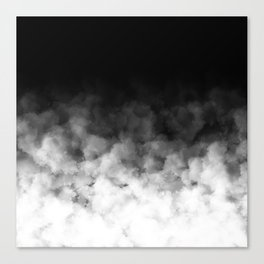 Ombre Black White Clouds Minimal Canvas Print