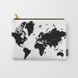 Minimalist World Map Black on White Background Carry-All Pouch
