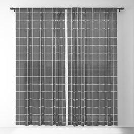 Grid Simple Line Black Minimalist Sheer Curtain