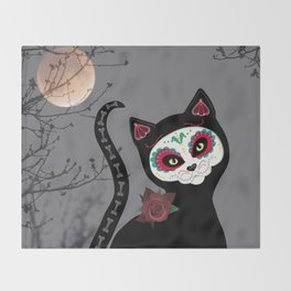 Day of the Dead Cat Throw Blanket