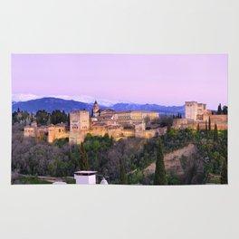 La Alhambra, Sierra Nevada and Granada. At pink sunset Rug