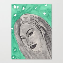 girl infront of a gre bacground Canvas Print