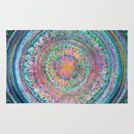 Pink and Turquoise Mandala Rug