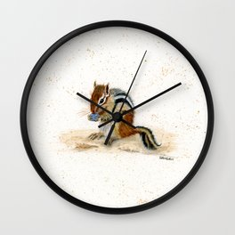 """Chippy"" Chipmunk - animal watercolor painting Wall Clock"