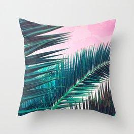 Nostalgic Palm Leaves on Pink #homedecor #buyart Throw Pillow