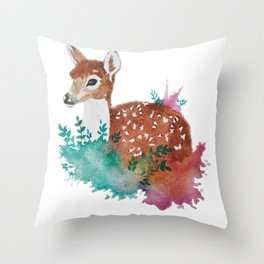 Deer Art Print Throw Pillow