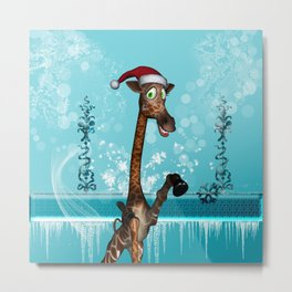 Funny, cute giraffe Metal Print