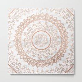 Mandala - rose gold and white marble Metal Print