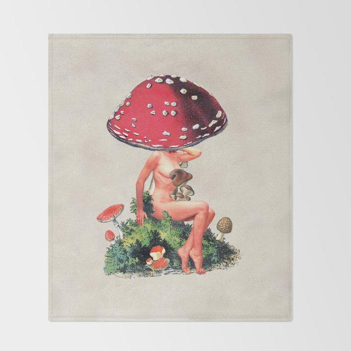 Shroom Girl Throw Blanket