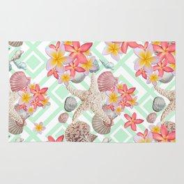 Modern tropical flowers seashells geometric design Rug