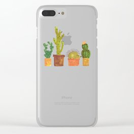 Hedgehog and Cactus (incognito) Clear iPhone Case