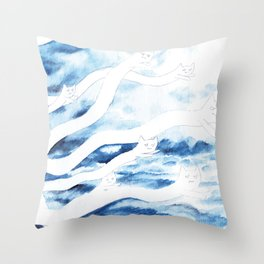 Bad Weather Cats Throw Pillow