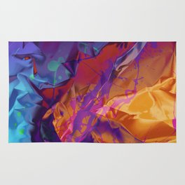 Dragon's Back. Dynamic, Blue, Purple and Orange Abstract. Rug