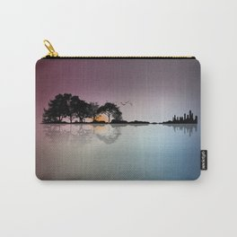 Musical Island - Guitar Shaped tropical Island Sunset & Cityscape Carry-All Pouch