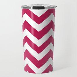 Rose red - fuchsia color - Zigzag Chevron Pattern Travel Mug