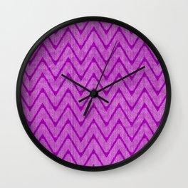 Vivid Purple Mauve Chevron Pattern Wall Clock