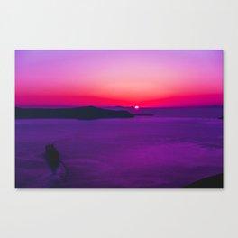 purple sunset in Fira Santorini Canvas Print