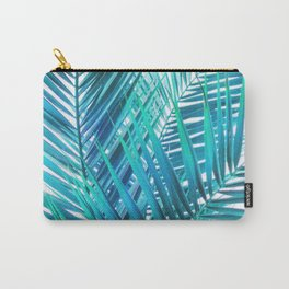 Turquoise Palm Leaves Carry-All Pouch