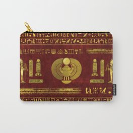 Golden Egyptian Scarab on red leather Carry-All Pouch