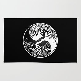 White and Black Tree of Life Yin Yang Rug