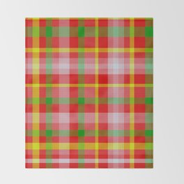 Red Yellow Pink and Green Tartan Throw Blanket
