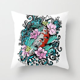 Colored Carpa Koi Throw Pillow