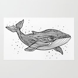 Hand draw whale Rug