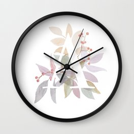 Fall Floral Monogram A - Rustic Alphabet Typography Wall Clock