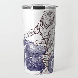 Tiger on a Motorcycle Travel Mug