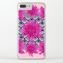 GREY ART DECO FUCHSIA CHRYSANTHEMUM FLORAL Clear iPhone Case