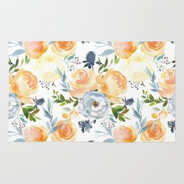 Blush gray orange watercolor hand painted floral Rug